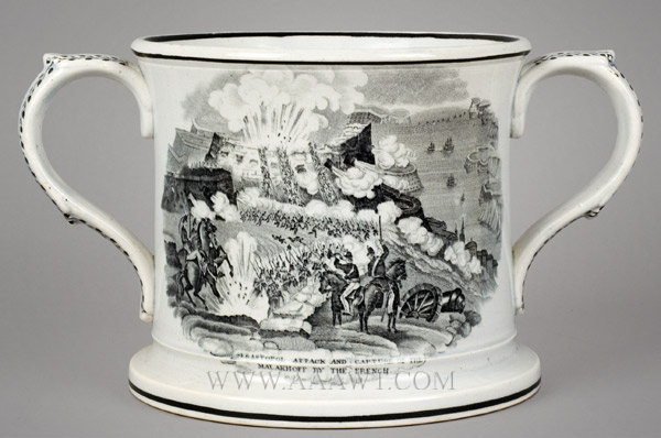 Frog Mug, Transfer Printed, Battle Scenes, Pearlware, Two Handle Staffordshire 19th Century, entire view