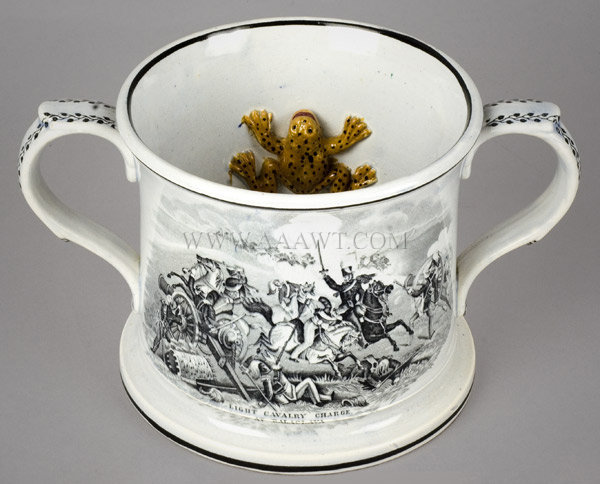 Frog Mug, Transfer Printed, Battle Scenes, Pearlware, Two Handle Staffordshire 19th Century, angle view