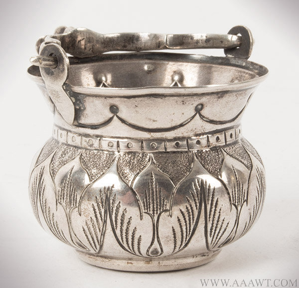 Silver Holy Water Pail, Embossed and Chiseled, Dutch, 18th Century
