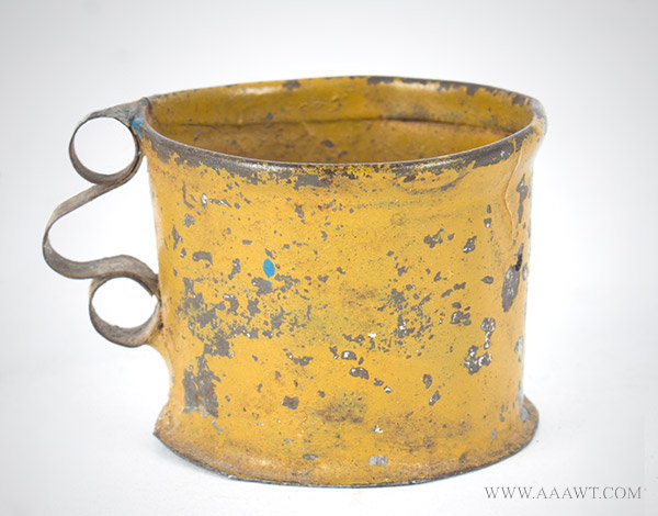 Antique Toy Tin Cup with Mustard Yellow Paint, entire view
