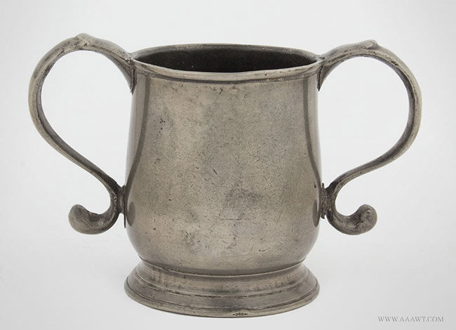 Antique Pewter Two Handled Cup, by William Eddon, London, entire view