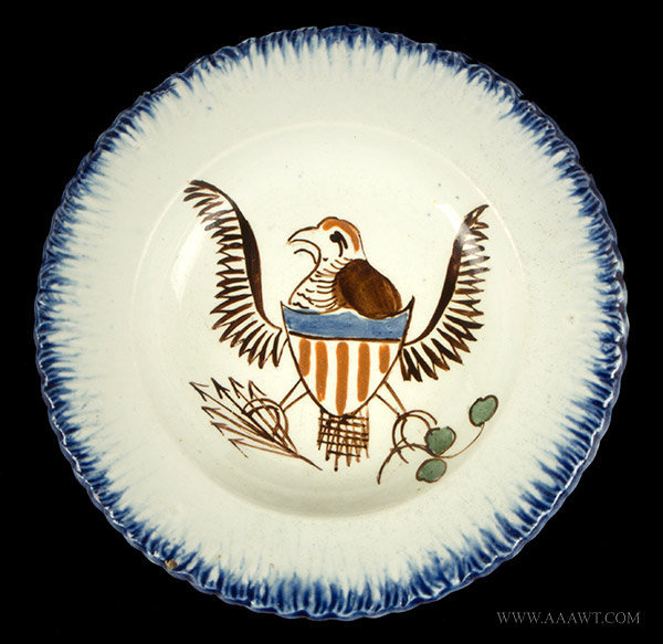 Antique Pearlware Cup Plate with Eagle and Shield Center, Blue Feather Edge, Circa 1810, entire view