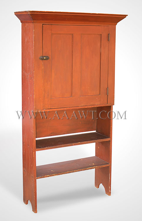 Cupboard over Open Shelves, Original Paint, Paneled Door, Rare Small Size  Pennsylvania  Second Half 19th Century, entire view