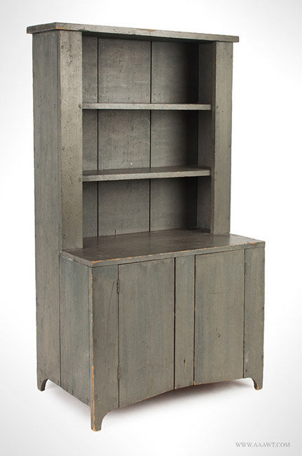 Antique Child's Size Gray Painted Step Back Cupboard, Circa 1840, angle view