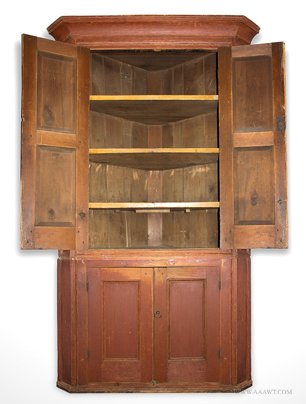 Antique Corner Cupboard in Red Paint with Fielded Panel Doors, Circa 1790  to 1820, - Antique Furniture_Cupboards, Built-in Cupboards, Hanging Cupboards