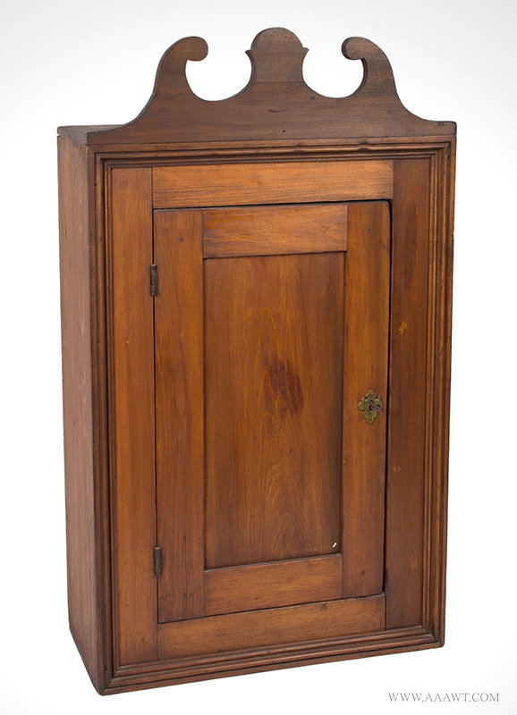 Antique Wall Hanging Cupboard with Old Surface, New England, 19th Century, angle view