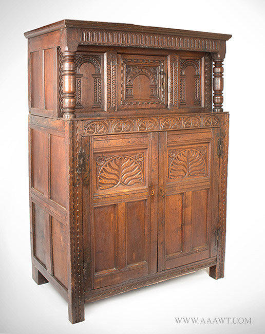 Antique Carved and Joined Livery Cupboard from Somerset County, England, Circa 1620 to 1640, angle view