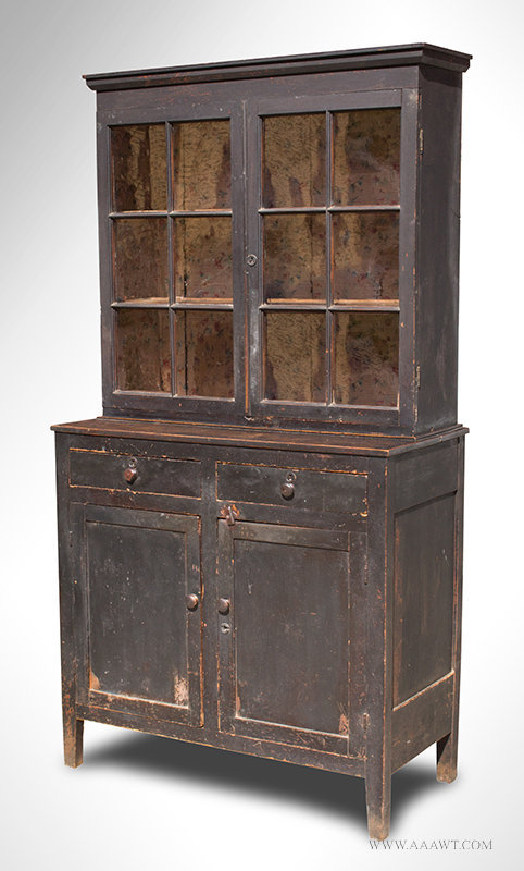 antique step back glazed cupboard in original paint circa 1840 to 1860 angle view - Antique Cupboard