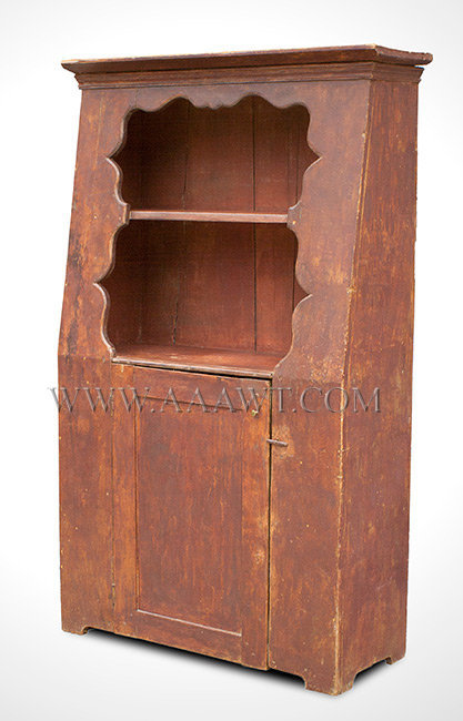 Canted Back Wall Cupboard, Scalloped and Thumb Molded Interior Borders  Deerfield, Massachusetts Area  Circa 1750 to 1800, entire view