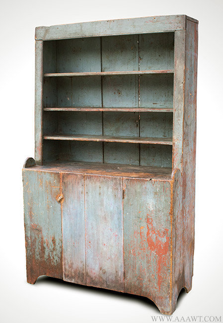 Antique Country Step Back Cupboard with Original Surface History, New  England, Circa 1800, - Antique Furniture_Cupboards, Built-in Cupboards, Hanging Cupboards