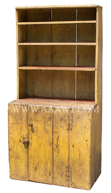 Step Back Cupboard, Open Top, Original Surface History, H Hinges New England Early, angle view