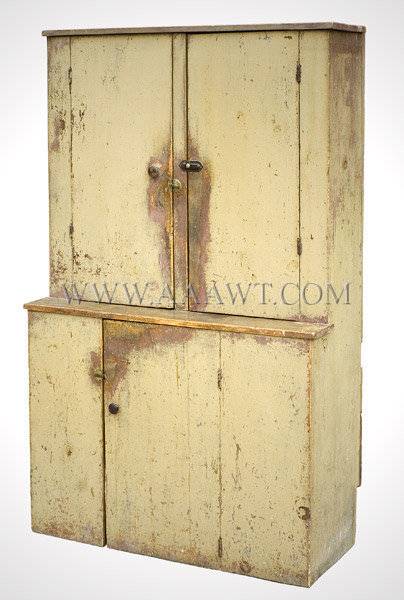 Step Back Cupboard, Sage Green Paint  New England  Early 19th Century, entire view