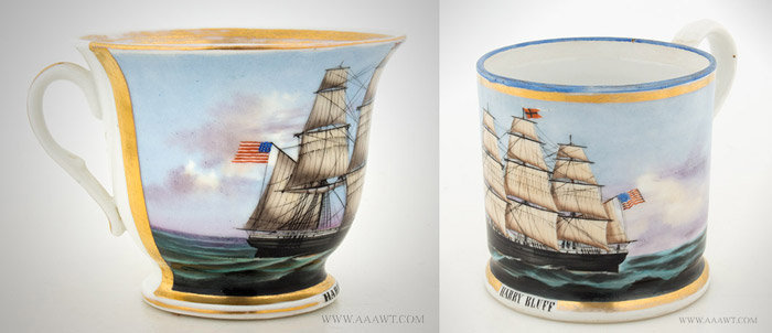 Antique Set of Painted Presentation Cups Depicting the American Ship Harry Bluff, Tea Cup and Mug, angle views 1