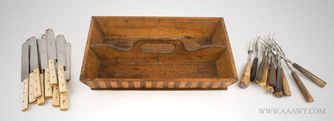Antique Cutlery Tray with Complete Set of Forks and Knives, 19th Century, entire view