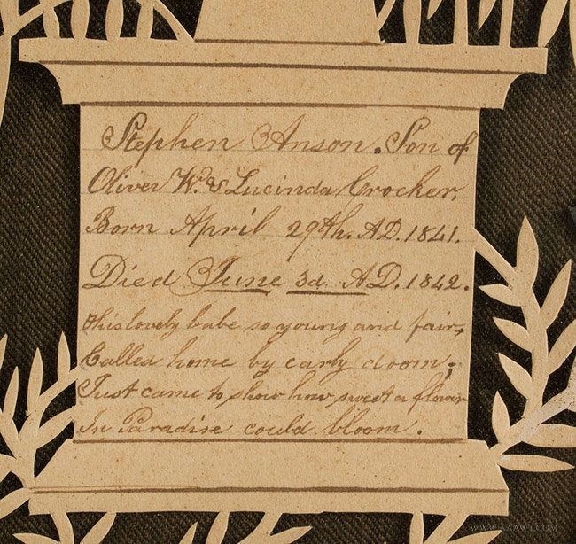 Antique Cutwork Watercolor and Calligraphy Memorial, E. Blackman, Circa 1840's, memorial detail