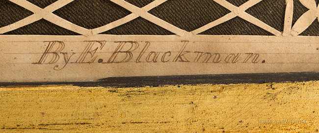 Antique Cutwork Watercolor and Calligraphy Memorial, E. Blackman, Circa 1840's, signature detail