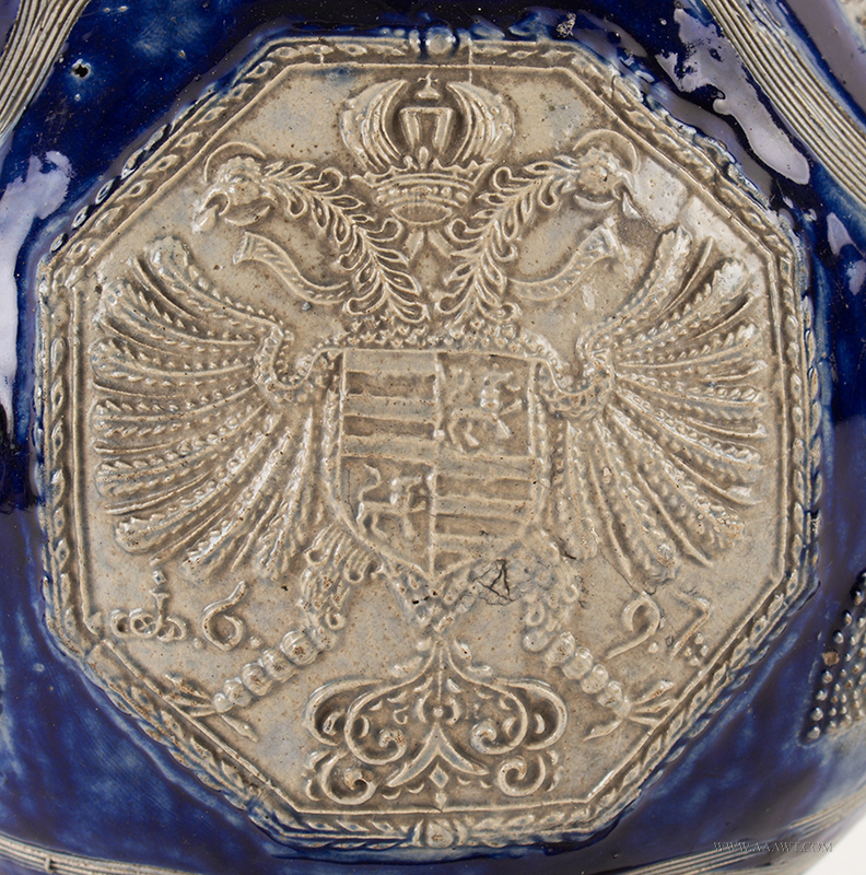 Antique Westerwald Salt Glaze Kugelbachkanne, Dated 1694, angle view 2