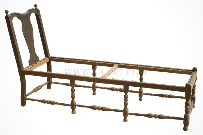Antique Queen Anne Day Bed with Vasiform Splat, 18th Century, angle view
