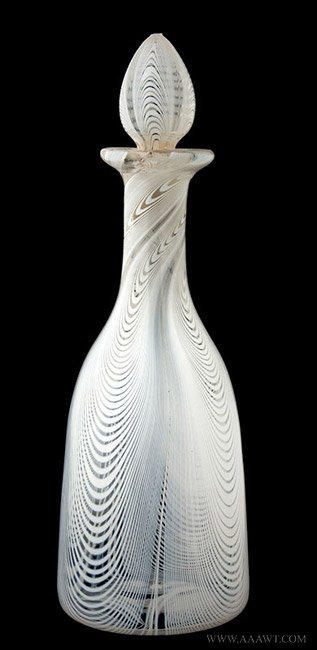 Antique Free Blwon White Marble Loop Decorated Decanter, Circa 1850, entire view