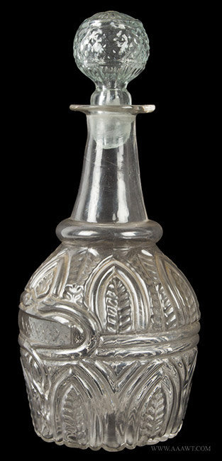 Antique Blown 3 Mold Glass Decanter From Sandwich Glass