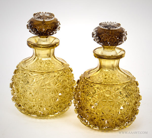 Antique Pair of Cut Glass Decanters with Star Cut Bases, angle view