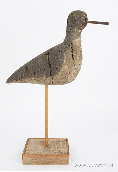 Antique Yellowlegs Shorebird Decoy, Carved Cork, Likely Long Island, facing right view