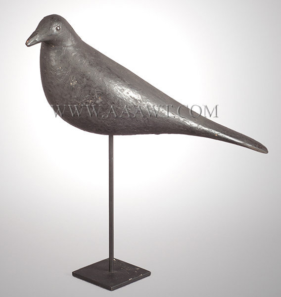 Antique Decoy, Crow, Carved and Black Painted, Circa 1930, angle view