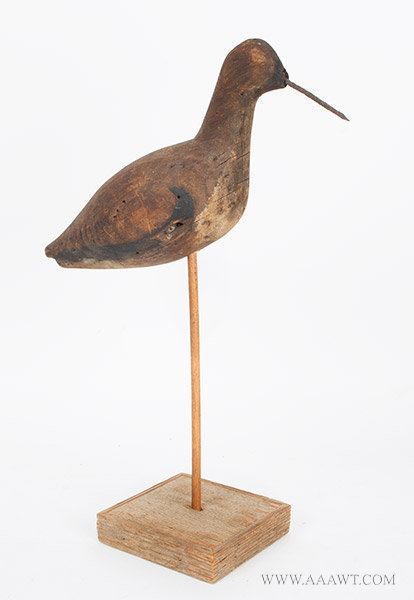 Antique Willet Shorebird Decoy in Original Surface, Late 19th Century, facing right view