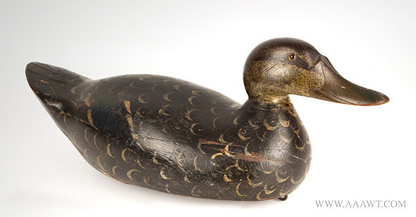 Antique Mason Black Duck Decoy, Original Paint, Early 20th Century, facing right view