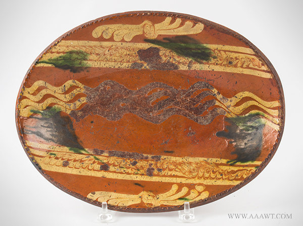 Antique Redware Slip Decorated Oval Dish from Bean Hill Pottery, Attributed to Leffingwell, Circa 1790 to 1800, entire view
