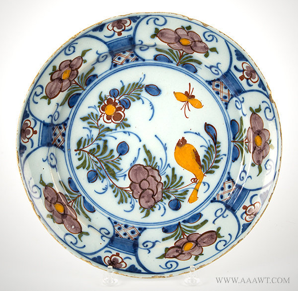 Antique Delft Polychrome Earthenware Charger with Bird and Butterfly Decoration, 18th Century, entire view
