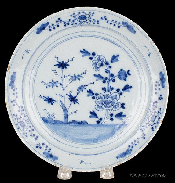Antique English Delft Blue and White Dish, Circa 1750 to 1760, entire view