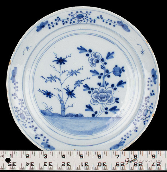 Antique English Delft Blue and White Dish, Circa 1750 to 1760, with ruler for detail