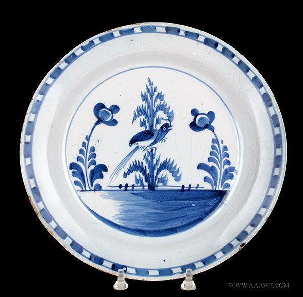 Antique English Blue and White Delft Dish, Circa 1720 to 1750, entire view