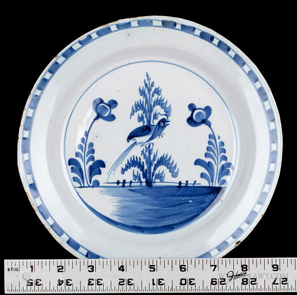 Antique English Blue and White Delft Dish, Circa 1720 to 1750, with ruler for scale