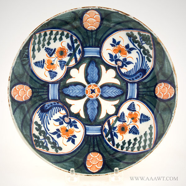 Dutch Delft Polychrome Dish with Lotus Leaf and Pinecone Decoration, Circa 1720, entire view
