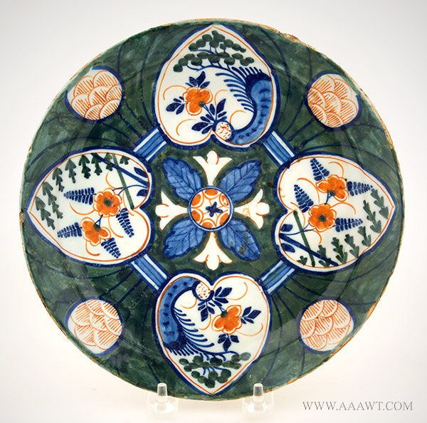 Dutch Delft Polychrome Dish with Lotus Leaf and Pinecone Decoration, Circa 1720, by Jan Vander Lear, entire view
