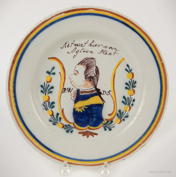 Antique Delft Plate, Painted with William of Orange, Circa 1770, entire view