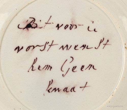 Antique Delft Plate, Painted with William of Orange, Circa 1770, back writing detail