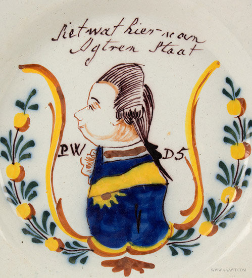 Antique Delft Plate, Painted with William of Orange, Circa 1770, close up view