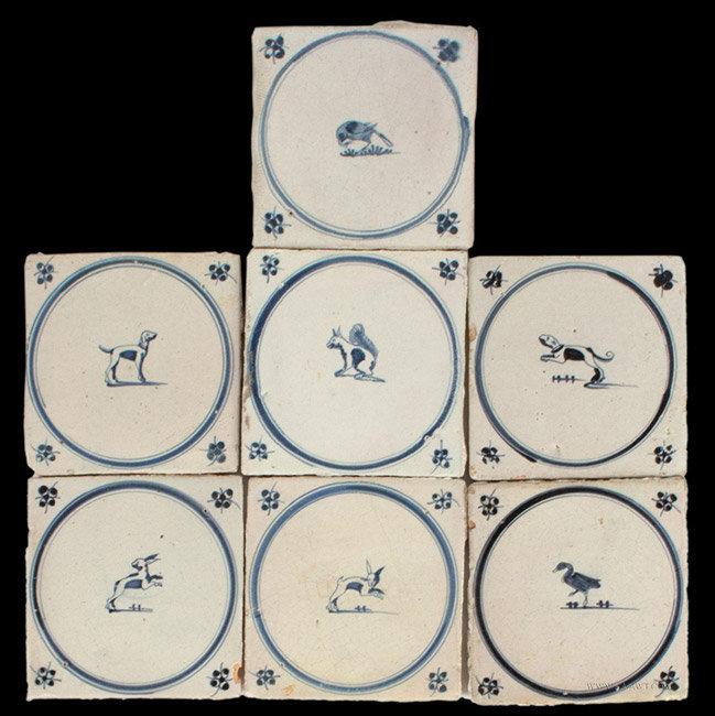 Antique Lot of Seven Dutch Delft Tiles, Various Animals, Circa 1650 to 1660, group view