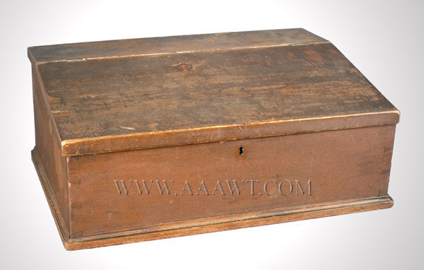 Tabletop Desk Box, Fitted Interior, Original Red Paint  Connecticut  Circa 1830, entire view