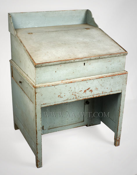 Clerk's or Schoolmaster's Desk, Blue Paint  New England  Early 19th Century, entire view