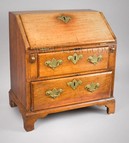 Child's Slant Lid Desk, Queen Anne Fall Front. 18.25'' Wide New England 18th Century, angle view