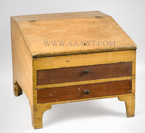 Tabletop Desk with Drawers, Slant Lid, Fancy Paint  Vermont  Early 19th Century, entire view