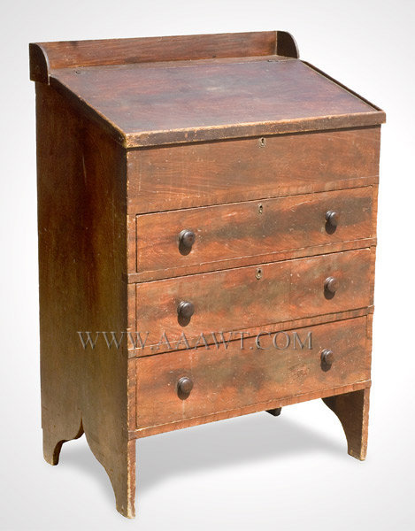 Desk, Stand Up, Original Paint, Hinged Top, Fitted Interior  Vermont  19th Century, entire view