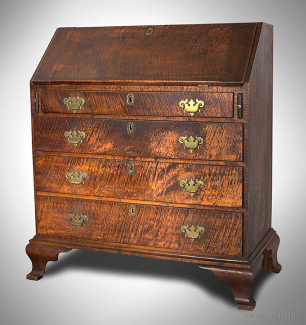 Antique Curly Maple Slant Front Desk, Westport, Massachusetts, Circa 1790,  angle view - Antique Furniture_Desk, Bookcase, Breakfront