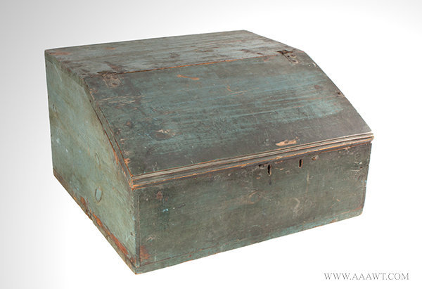 Antique Country Tabletop Desk Box with Slant Lid, 19th Century, angle view