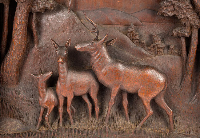 Antique Wood Diorama with Forested Hillocks and Deer, Late 19th Century, deer detail