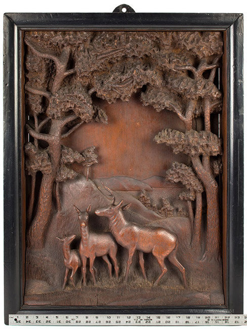 Antique Wood Diorama with Forested Hillocks and Deer, Late 19th Century, with ruler for scale